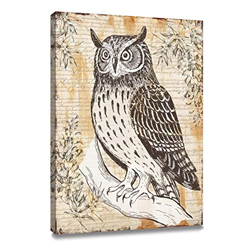 ArtKisser Original Painting of Owl Pictures on Canvas Wall Art Framed Ready to Hang owl Wall Decor for Bedroom Living Room Decoration 12
