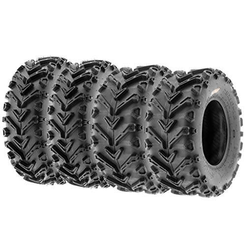 (Set of 4 SunF A041 Mud & Trail 24x8-12 Front & 24x10-11 Rear ATV UTV off road Tires, 6 PR, Tubeless)