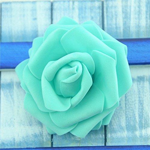 Artificial Flowers Fake flowers head Foam Rose Handmade Wedding Decoration DIY party festival Home Decor Clipboard Puff Flower 20pcs 7cm (tiffany) (Tiffany Blue Clipboard)