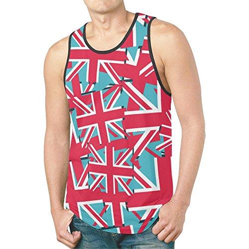 INTERESTPRINT British Union Jack Flag Men's Tank Tops T-Shirt Gym Workout XL