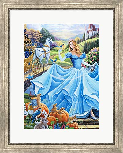 (Cinderella by Jenny Newland Framed Art Print Wall Picture, Silver Scoop Frame, 22 x 27 inches)