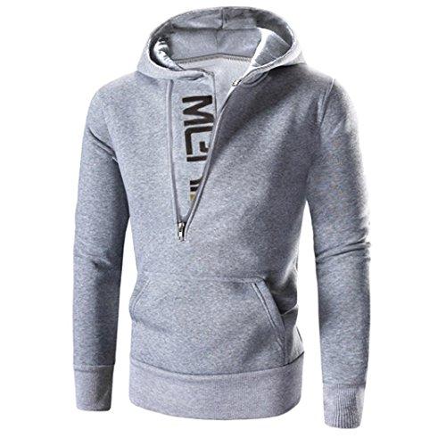 Tops ropa larga Amlaiworld chaqueta Gris con Hombre Hombres abrigo de Sudaderas manga sudadera capucha nw7azx45q