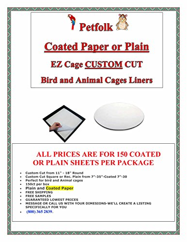 EZ Cage 150ct Bird Cage Plain and Coated Bird Cage Liners FREE SAMPLES (Uncoated up to