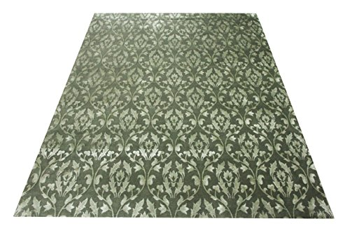 Floral Pattern Nepalese Handmade Area Rug 8' X 10' Hand Knotted Nepali Carpet 8 Feet By 10 Feet Green Color 100 Knot Wool and Silk Mix Nepali Rug