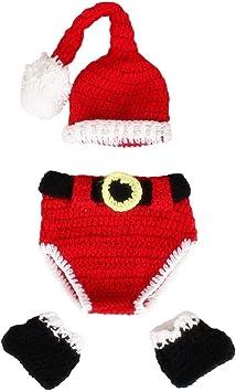 Oferta amazon: Toyvian Navidad recién Nacido Disfraz Punto de Ganchillo Papá Noel Sombreros Pantalones y Calcetines Accesorios de fotografía