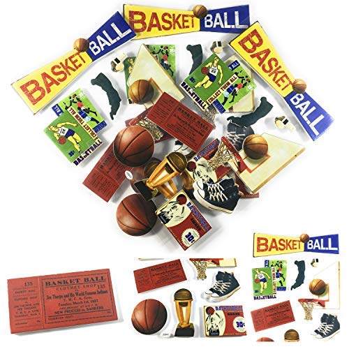 Foam Basketball Stickers | Scrapbook Stickers | DIY Sports Basketball Party | Classic Basketball 3D Stickers 30 Pieces!