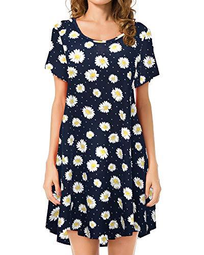 JollieLovin Women's Tunic Top Casual Short Sleeve Swing Loose T-Shirt Dress (2X, 3-Navy Blue)