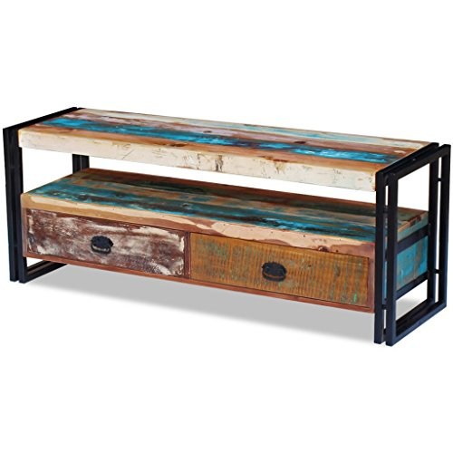 Festnight Reclaimed Wood TV Stand Storage Cabinet with 2 Drawers, Antique-Style