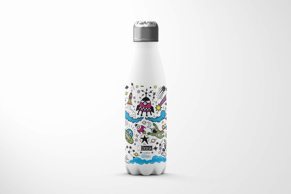 sin BPA RI01 sin fugas I-Drink Botella t/érmica de acero de doble pared de 500 ml