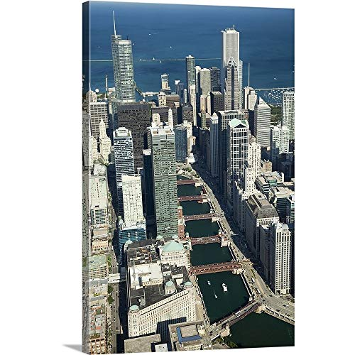 GREATBIGCANVAS Gallery-Wrapped Canvas Entitled Aerial View of a City with Lake Michigan in The Background, Trump Tower, Chicago River, Chicago, Cook County, Illinois by 12