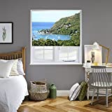 4 feet roman shades - Marigot Bay Theme, Printed Adjustable Interior Fabric Sheer Roller Shade With Beaded Chain in Right (4' Width)
