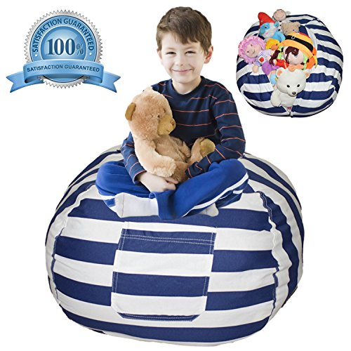 Extra Large Stuffed Animal Storage Bean Bag Cover | Europe Made & Lab Tested Fabric | The Ultimate Storage Solution To Clean Up & Organize Kid's Room | Free E-Book ()