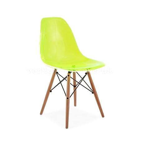 Green Transparent Ghost DSW Retro Mid Century Modern Eiffel Wood Leg Dining  Side Chair