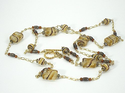 Venetian Swirled Glass Necklace on Chain (Strand Venetian Necklace)
