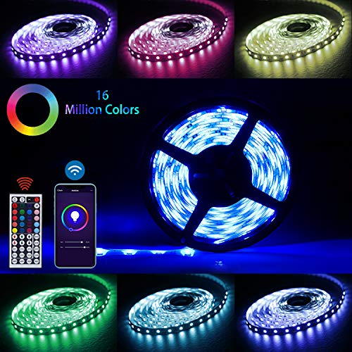 Price comparison product image LED Strip Lights,  HUGOAI WiFi Wireless Smart Phone Controlled Light Strip Kit 5050 16.8ft / 5M RGB 300 LEDs Light,  Rope Lights,  Ribbon Lights Controlled by Alexa / Google Home,  IP65 Waterproof