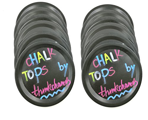 Aluminum Bands/Rings with Reusable Black Chalkboard Lid Sets Rust Proof for Mason Jars (2 Pack, Wide Mouth )