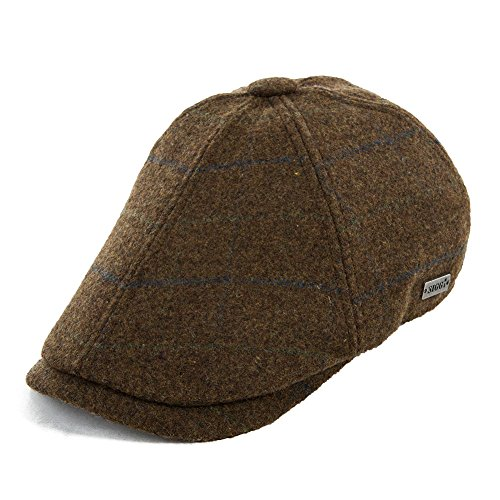 Siggi Mens Wool Ivy Tweed Flat Cap Plaid Duckbill Gatsby Irish Driver Caps Hat Coffee