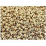 7/0 10gr Matubo Bead - Tschechische Gepresste Glasperlen, Rocailles 3,5 mm, Crystal Bronze Pale Gold (Aztec Gold)