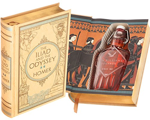 Flask Hollow Book - The Iliad and the Odyssey by Homer (Leather-bound) (Magnetic Closure) (Custom-Etched)