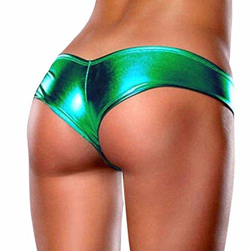 iiniim Mujere Atractiva Ropa Interior Tanga Del Estiramiento De Charol Ropa Interior Para Las Mujeres Verde Oscuro