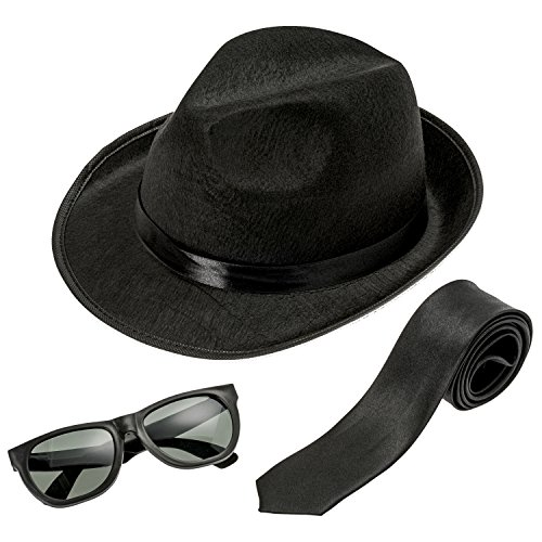 NJ Novelty - Fedora Gangster Hat, Black Pinched Hat Costume Accessory + White Band (Black Hat, Black Tie & Glasses) -