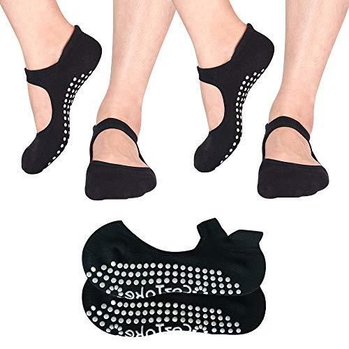 Yoga Socks Non Slip Skid Pilates Ballet Barre with Grips Cotton For Women Men 2 Pack (Black) Review