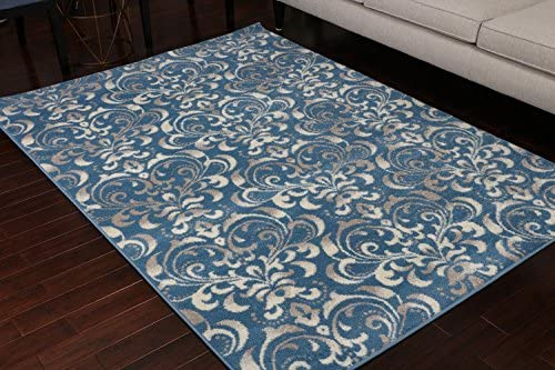 Paris Collection Oriental Carpet Area Rug Blue Cream Grey 5055blue 5×7 6×8 5 2×7 4