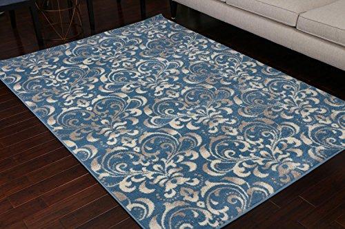 Blue Grey Oval Rug - Paris Collection Oriental Carpet Area Rug Blue Cream Grey 5055blue 5x7 6x8 5'2x7'4