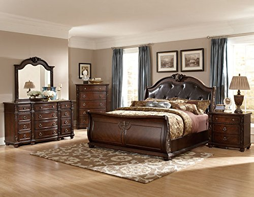leather sleigh bed queen with night stand