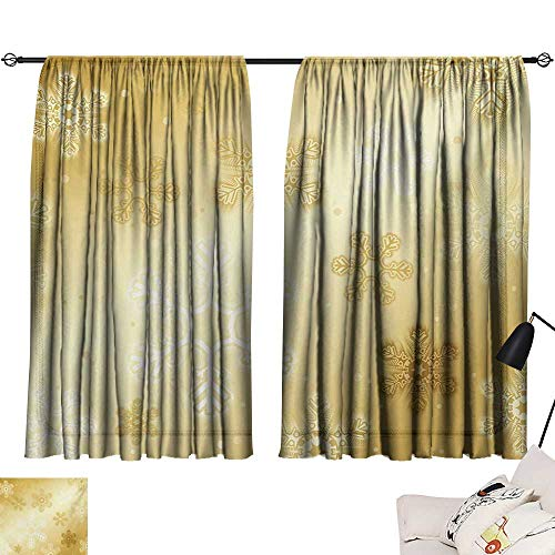 Davishouse Christmas Decor Curtains Snowflakes Pattern Noel Holiday Yuletide Themed Winter Inspired Artsy Image Home Garden Bedroom Outdoor Indoor Wall ()