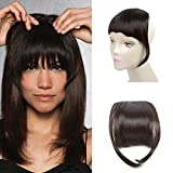 Liyate New Fashion Straight Hair Bangs Clip in Hair Extensions 1 piece (2 clips) Synthetic Hair (clip bangs, Black Brown)