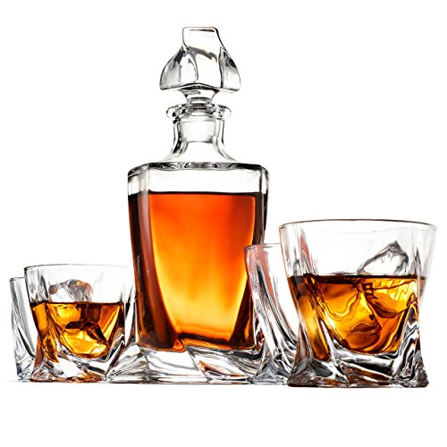 FineDine High-end Modern 5-Piece Whiskey Decanter Set, Weighted Bottom European Twist Style Design 8oz DOF Glasses - 100% Lead Free Crystal Clear - for Scotch, Liquor, Bourbon Etc. Meganatic Gift Box 750ml Gift Box