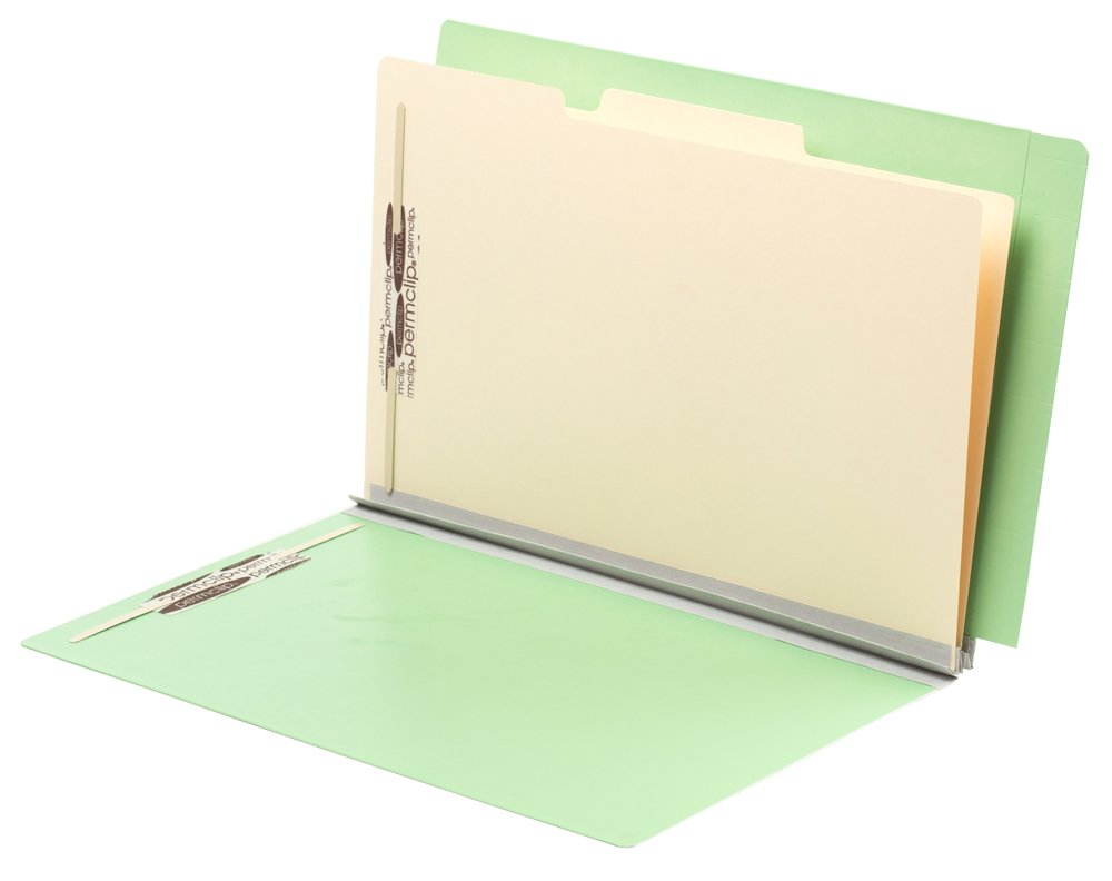 TAB FORTIfile Pressboard Classification Folder 2 Dividers Legal Size Expansion Mint Green 20/Box