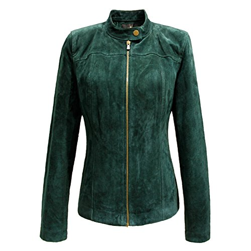 uine Leather Jacket Zipper Suede Biker Jackets Coat(M,Green) (Ladies Leather Zipper Jacket)