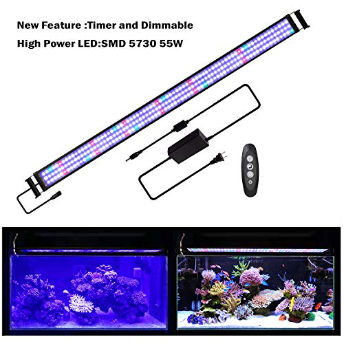 JOYHILL LED Aquarium Lights with Timer, Dimmable,Super Bright LEDs Fish Tank Light for Aquatic Reef Coral Plants,Full Spectrum for 60