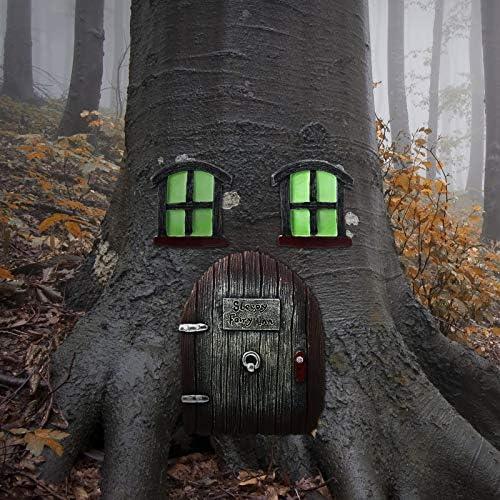 Syhood Miniature Fairy Garden Glowing in The Dark Fairies Sleeping Door and Windows Tree Statues Tree Hugger Yard and Garden Sculptures Fairy Garden Mystical Gnome Home