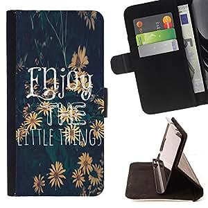 """For Sony Xperia Z5 Compact Z5 Mini (Not for Normal Z5),S-type El texto pequeñas cosas Girasol"""" - Dibujo PU billetera de cuero Funda Case Caso de la piel de la bolsa protectora"""
