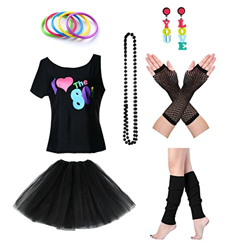 Women's I Love The 80's T-Shirt 80s Outfit accessories (L/XL, Black)