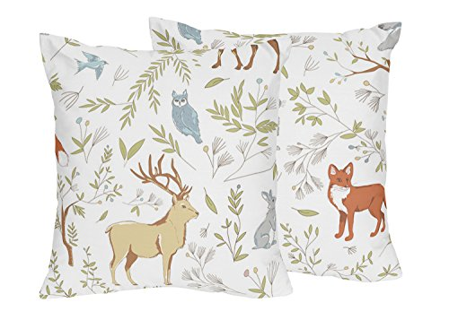 Sweet Jojo Designs 2-Piece Animal Print Decorative Accent Throw Pillows for Woodland Toile Bedding Sets