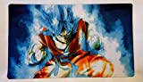 Masters of trade Goku blue Dragonball super Z DBZ TCG playmat, gamemat 24'' wide 14'' tall for trading card game smooth cloth surface rubber base