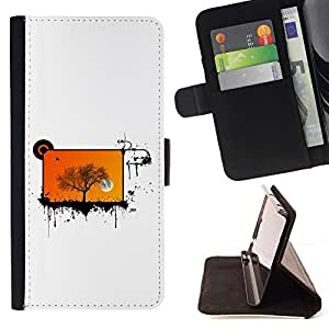 DEVIL CASE - FOR Samsung Galaxy S6 - cool abstract screen tree orange - Style PU Leather Case Wallet Flip Stand Flap Closure Cover