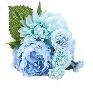 Celine lin 1 Bunch 8 Pcs Artificial Peony Dahlia Daisy Flower Bouquet Bride Bridesmaid Holding Flowers For Home Hotel Office Wedding Party Garden Craft Art D¨¦cor,Tiffany blue 14