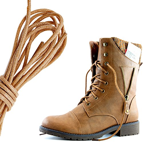 DailyShoes Womens Military Lace Up Buckle Combat Boots Zipper Sweater Ankle High Exclusive Credit Card Pocket, Brown Tan Pu