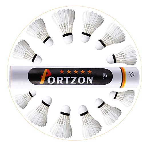 Portzon 12-Pack Goose Feather Badminton Shuttlecocks with Great Stability and Durability, High Speed Badminton Birdies Balls
