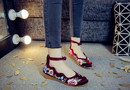 Lazutom Women Lady Cotton-Blend Vintage Embroidery Casual Round Toe Slip On Shoes Wine Red WnjeNA8JED