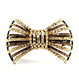 DoubleAccent Hair Jewelry Large Contrasting Simulated Crystal Bow Barrette, Light Brown