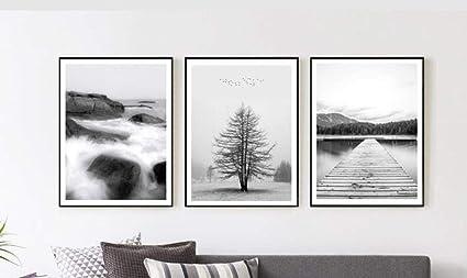 Fybsndy 3 Morceaux De Paysage Noir Et Blanc Mur Art Toile