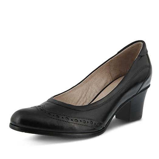 Spring Step Women's Itambe Pumps, Black Leather, Rubber, 36 M EU, 5.5