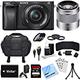 Sony ILCE-6300 a6300 4K Mirrorless Camera w/16-50mm Zoom + 50mm Telephoto Lens Bundle includes Camera, 16-50mm Lens, 50mm Lens, 32GB SDHC Memory Card, Deluxe Filter Kits, Beach Camera Cloth and More