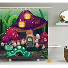 Ambesonne Mushroom Decor Collection, Illustration of a Long Worm Near the Mushroom Houses Fictional Cute Little Creatures Image, Polyester Fabric Bathroom Shower Curtain, 84 Inches Extra Long, Multi